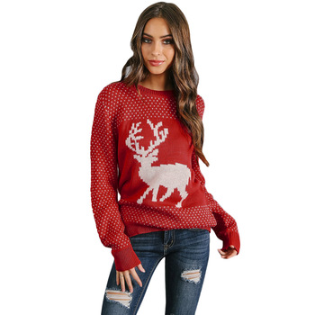 Winter Knitted Christmas Sweater Women,Ladies Long Sleeve .