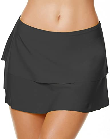 Amazon.com: upandfast Women's Swim Skirts Solid Skirted Bikini .