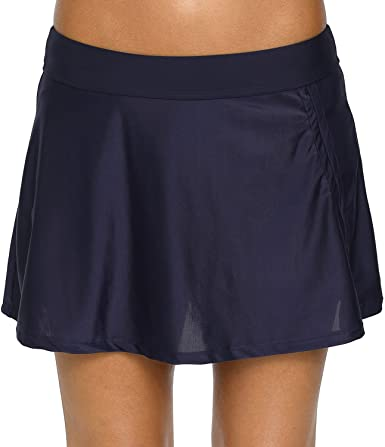 Amazon.com: Vegatos Women Solid Swim Skirts Sports Skirted Bikini .