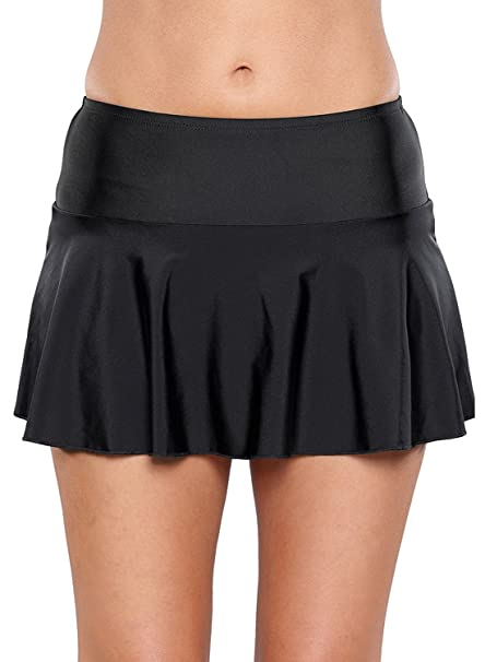 Amazon.com: Lalagen Womens Solid Color Swim Skirt Bikini Bottom .