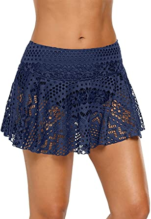 Amazon.com: Jersri Women Swim Skirts Bottoms,Lace Crochet Low .