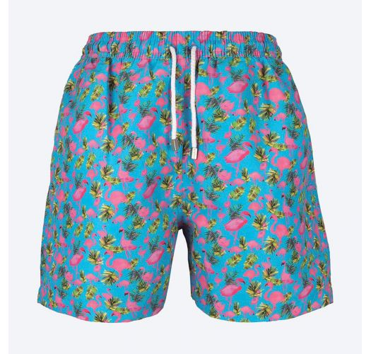 Turquoise Swimming Shorts With Flamingo Motifs - Flamingos Azul .