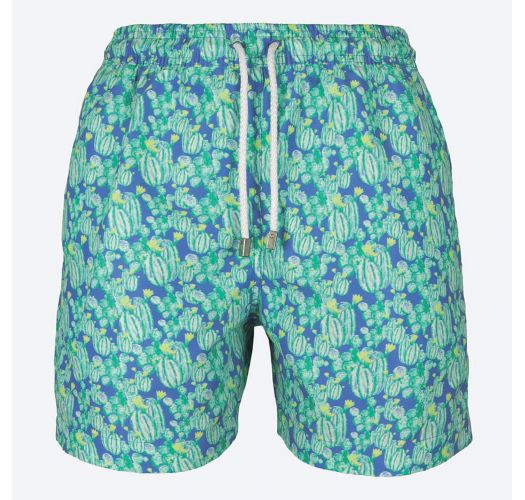 Green/blue Swimming Shorts With Cactus Pattern - Cactus Blue .