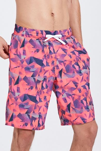 New Designer Mens Summer Pink Geo Print Swimming Shorts Trunks .