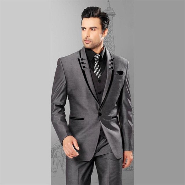 2017 grey 3 pieces Mens Suit Plaid Terno masculino Wedding Groom .