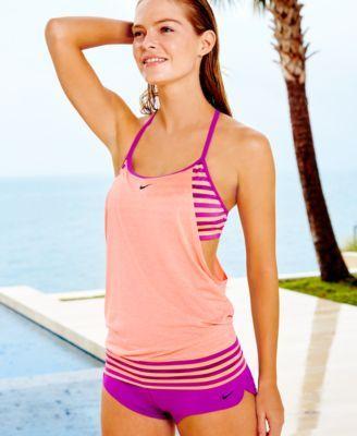 Nike Evenflow Active Tankini Top & Striped Active Swim Boyshorts .