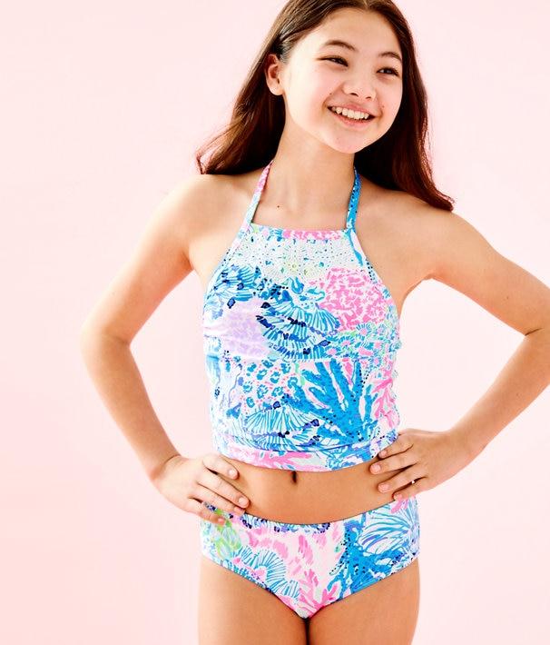 UPF 50+ Girls Kinley Tankini Swimsuit | Lilly Pulitz