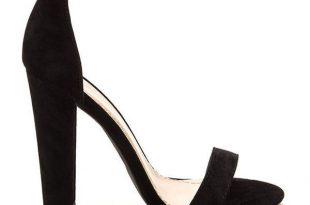 BLACK Simple Statement Chunky Velvet Heels ($27) ❤ liked on .