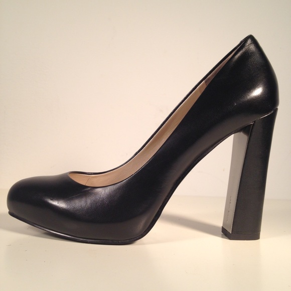 Nine West Shoes | Desired Black Thick Heel Pumps | Poshma