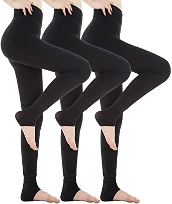 3 Pack Fleece Lined Leggings Thick Soft Stretchy Slimming Winter .