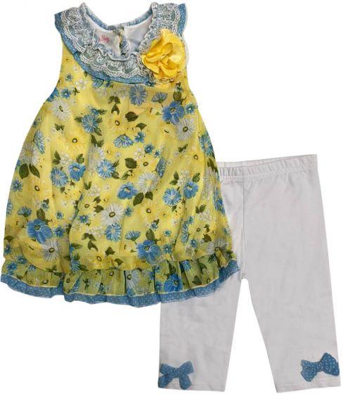 Nannette Toddler Girls 2-Piece Floral Crinkle Chiff Top & Capri .