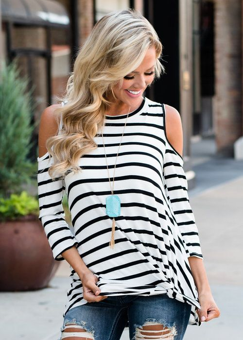 Wild and Free Open Shoulder Knotted Striped Top White | White tops .