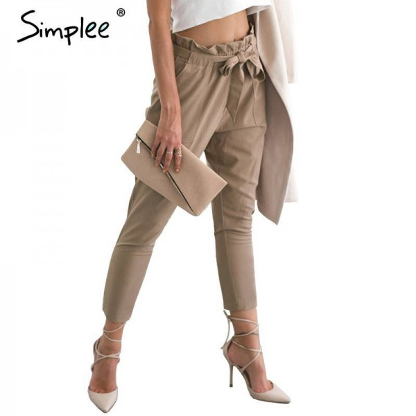 Simplee Chiffon High Waist Summer Casual Pants New Trousers .