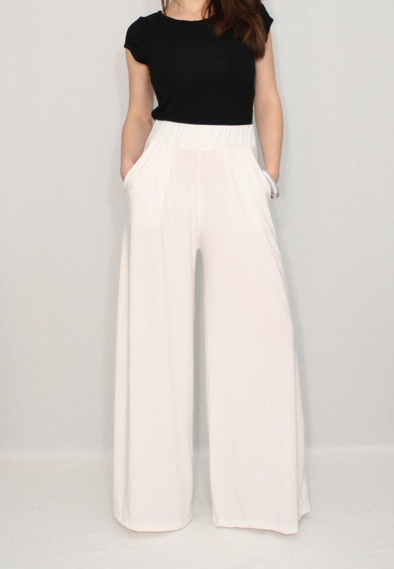 Women ivory pants with pockets, wide leg pants, trousers | Pants .