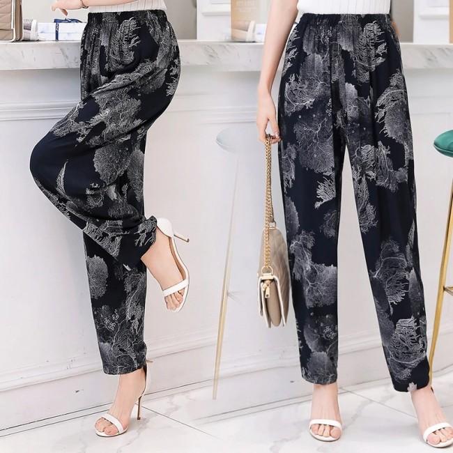 2019 New Summer Pants Women Vintage Elastic Waist Print Floral .