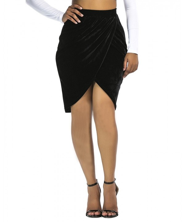 Womens Velvet Tulip Skirt High Waist Mini Pleated Skirts Black-XL .