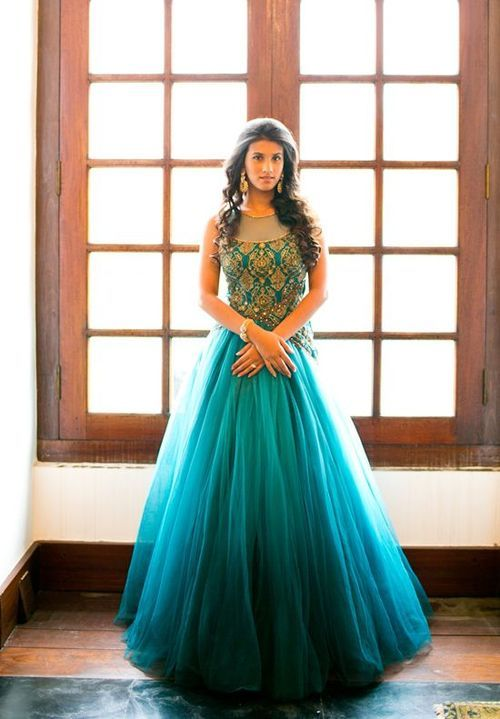 turquoise dress | Indian wedding gowns, Gowns, Indian dress