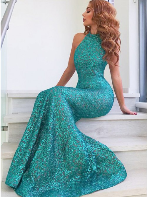 Buy Mermaid Round Neck Sweep Train Turquoise Sequined Prom Dress .