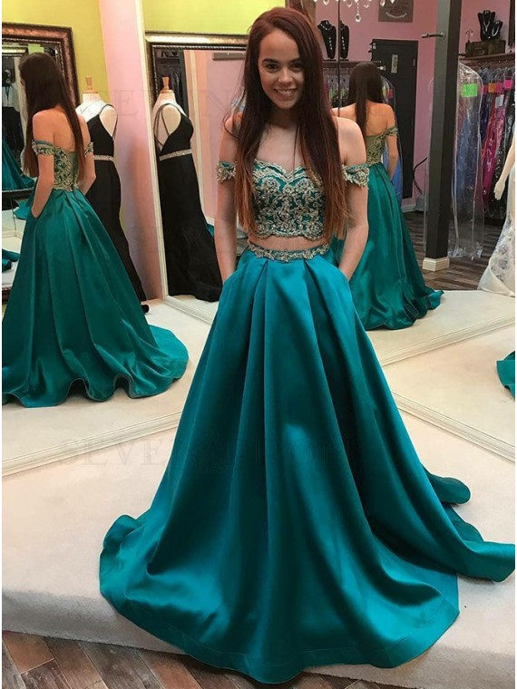 Buy Two Piece Off-the-Shoulder Long Turquoise Prom Dress with .