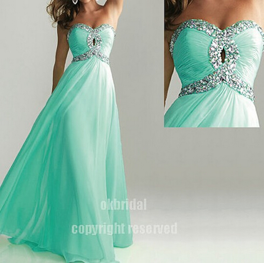 Turquoise Prom Dresses, Long Prom Dress, Chiffon Prom Dress .