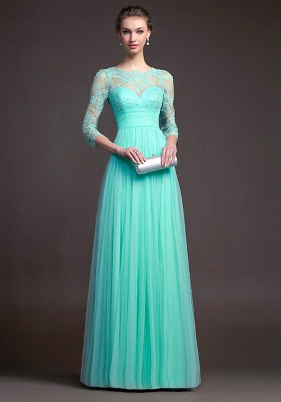 Turquoise blue Lace Pleated 3/4 Sleeve Elegant Fashion Ball Gown .