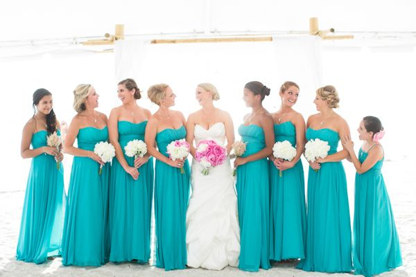 Breezy Beach Wedding in Turquoise and Pink | Turquoise bridesmaid .