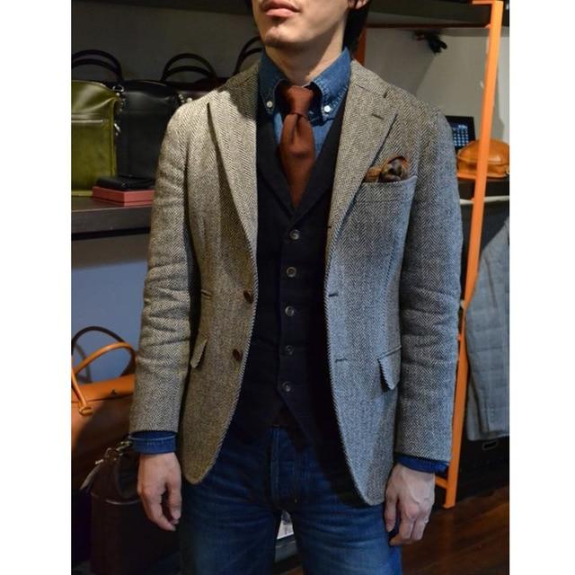 Tailored Vintage Gray Mens Tweed Jackets Men Blazer Men Jacket .