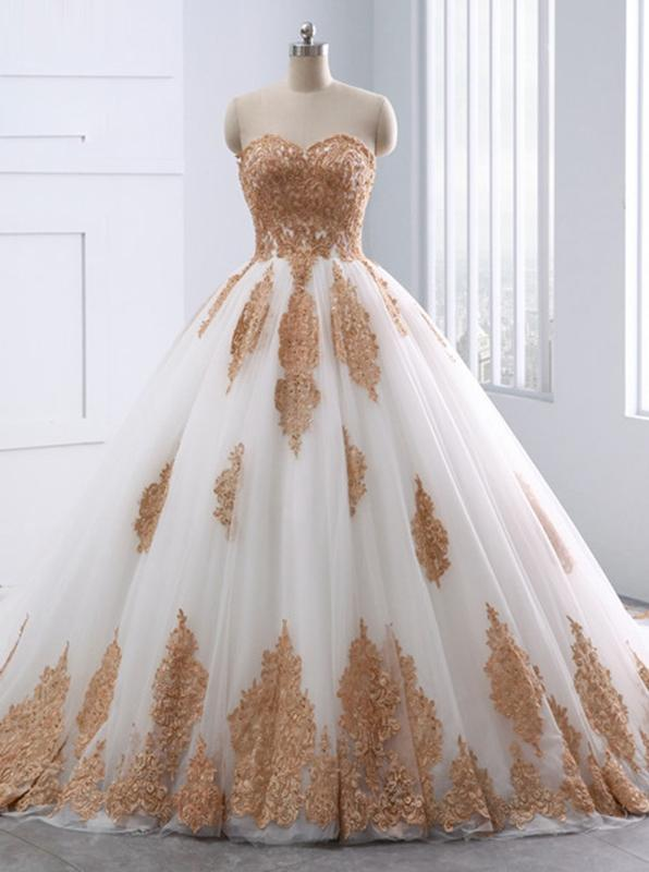 Ball Gown Wedding Dresses,Strapless Wedding Dress,Unique Bridal .
