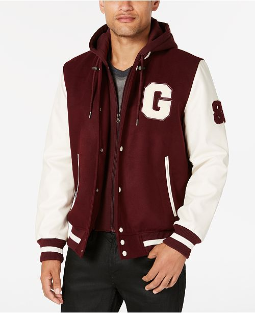 GUESS Men's Hooded Varsity Jacket & Reviews - Coats & Jackets .