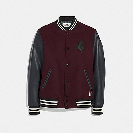 COACH F33820 - LEATHER AND WOOL VARSITY JACKET - BURGUNDY/NAVY .