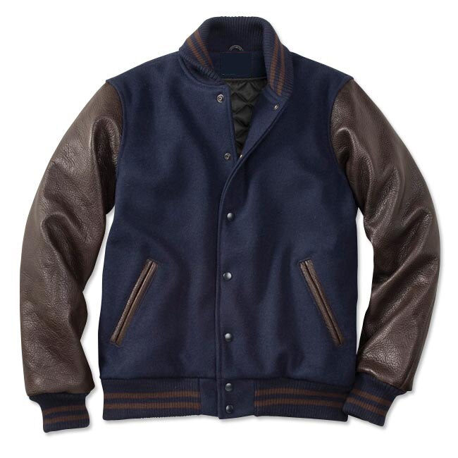Navy n Brown Varsity Jacket | Enjoy Discount He