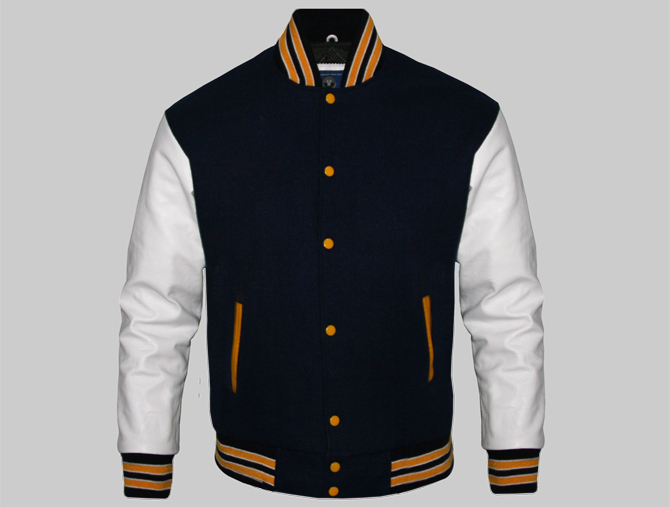 Custom Letterman Jackets for Men Black Wool and White Genuine Leath