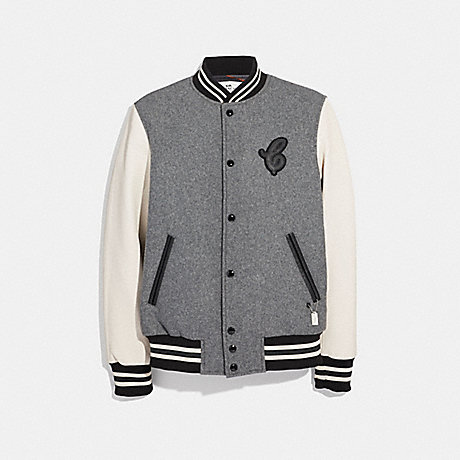 COACH F33820 - LEATHER AND WOOL VARSITY JACKET - HEATHER GREY .