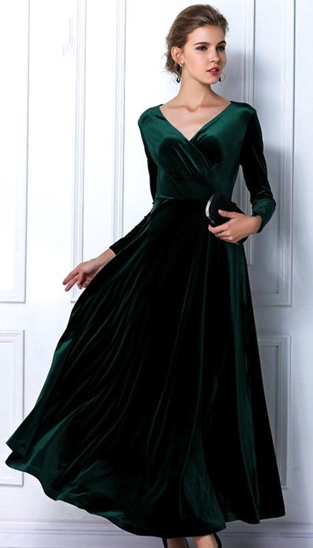 Emerald Green Velvet Dress Long Party Formal Evening Maxi Dress .