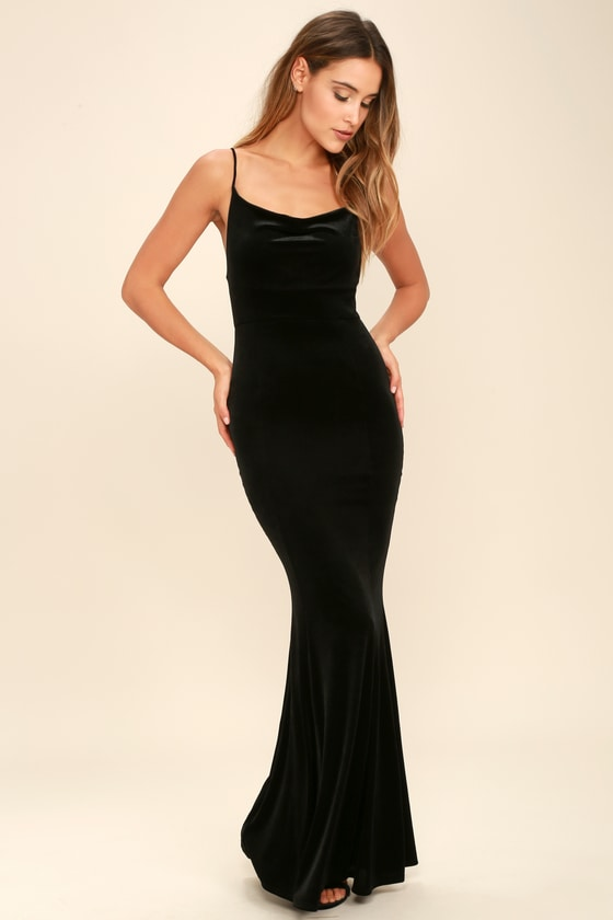 Sexy Velvet Dress - Black Dress - Mermaid Maxi Dress - Bodycon .