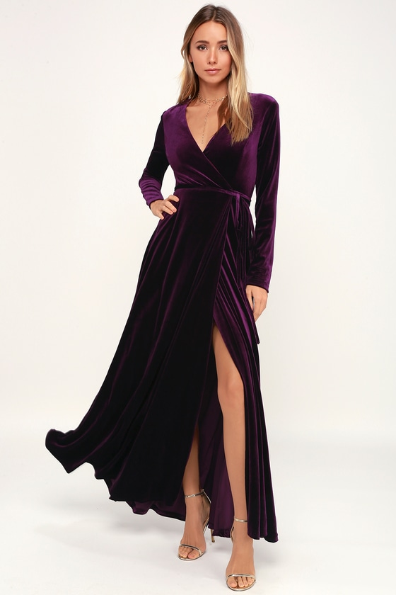Lovely Plum Purple Dress - Long Sleeve Dress - Velvet Wrap Ma