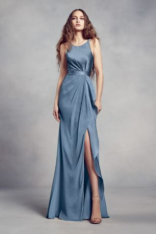 Charmeuse and Chiffon Bridesmaid Dress with Ruffle | Vera wang .