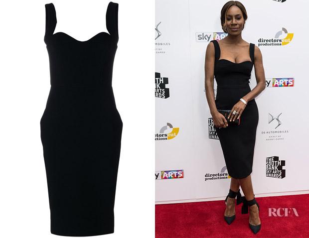 Amma Asante's Victoria Beckham Sweetheart Neckline Fitted Dress .