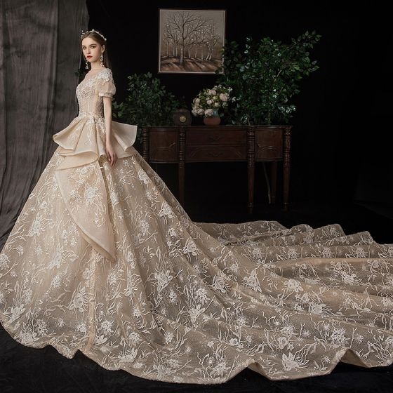 Victorian Style Champagne Wedding Dresses 2020 Ball Gown V .