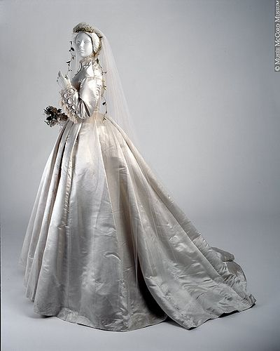 Victorian Wedding Dress - A Victorian wedding dress circa 1866 .