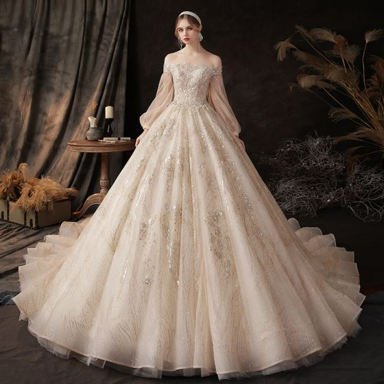 Victorian Style Champagne Bridal Wedding Dresses 2020 Ball Gown .