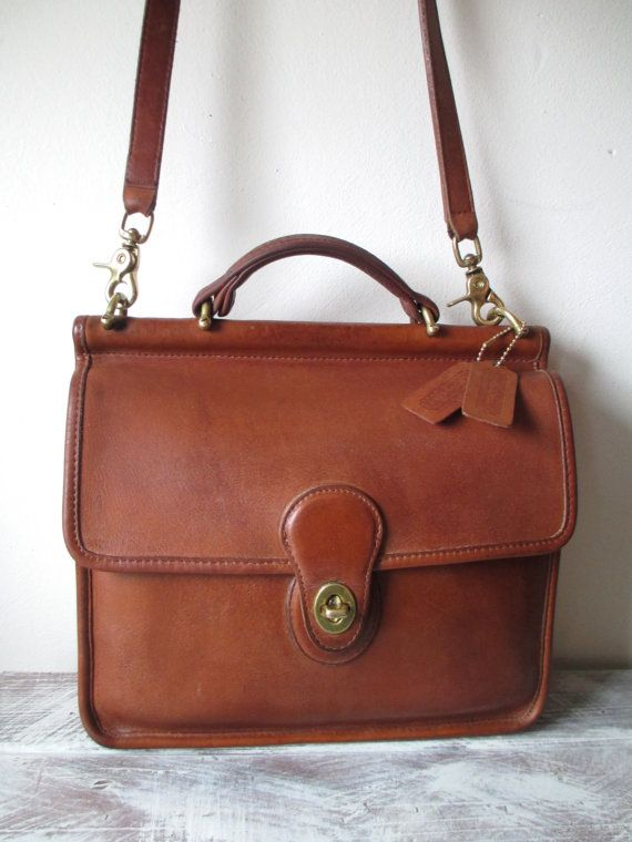 Vintage Coach Willis Leather Messenger Bag in British by FeelsFree .