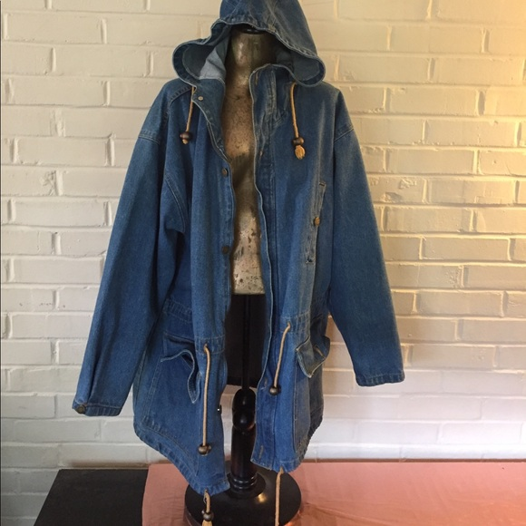 Vintage Jackets & Coats | Oversized Long Denim Jacket With Hood .