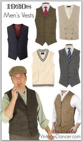 1920s Style Men's Vests, Pullover Vests, Waistcoa