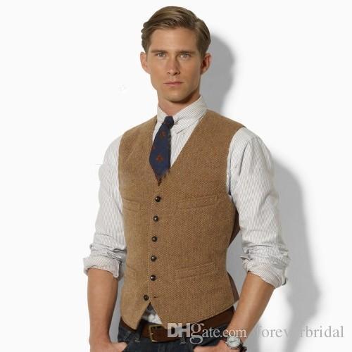 2019 New Classic Fashion Brown Tweed Waistcoat Wool Herringbone .