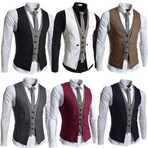 Details about New Mens Party Formal Wedding Waistcoat Casual Chest .