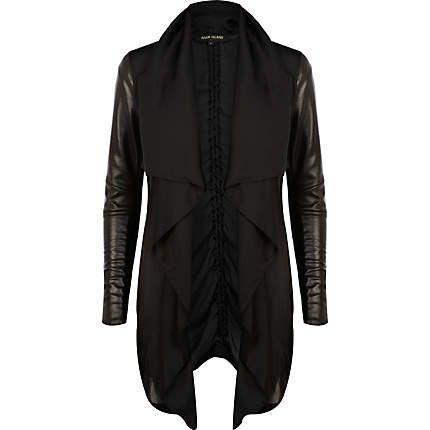 Black leather look sleeve waterfall jacket $100.00 | Leather look .