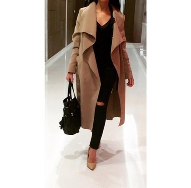 camel coat, waterfall coat, wool coat, long coat, black ripped .