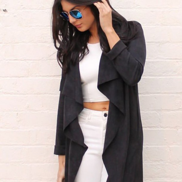 coat, suede jacket, waterfall jacket, blue shoes, lace-up shoes .