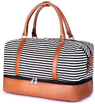Amazon.com | SUVOM Women Weekend Bag Canvas Overnight Travel Tote .